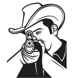 Cowboy shooting a rifle vector
