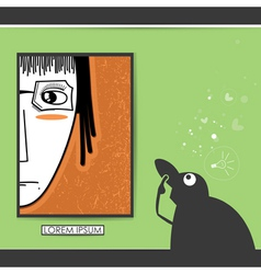 Character in museum with portrait of girl in frame vector