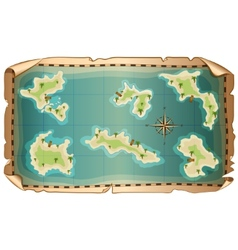 Map of pirate with islands vector