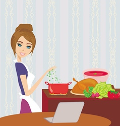 Housewife looking in laptop during cooking soup at vector