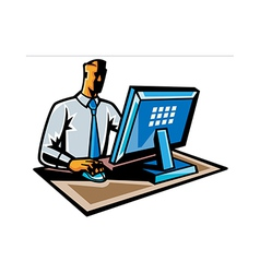 Side view of man working on computer vector