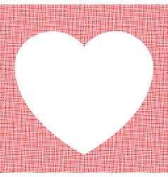 White heart on canvas texture vector