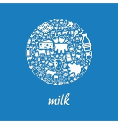Milk icons in circle vector