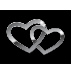 Two metal hearts vector