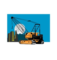 Construction crane hoist retro vector