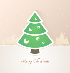 Christmas tree paper with snow background vector