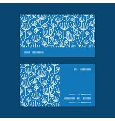 Blue white lineart plants horizontal stripe vector
