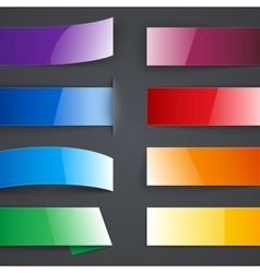 Set of blank colorful paper banners with shadows vector
