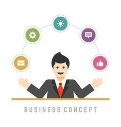 Business man concept and flat icons set options vector