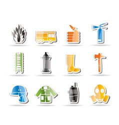 Simple fire-brigade and fireman equipment icon vector