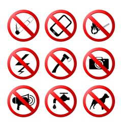 Collection of ban road signs vector