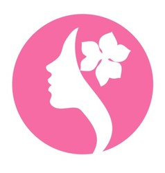 Young woman face profile silhouette -pink icon vector