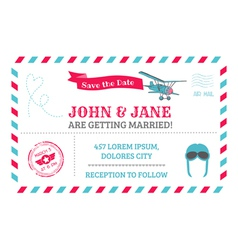 Wedding invitation card - airplane theme vector