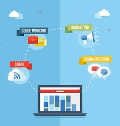 Social media network concept flat vector