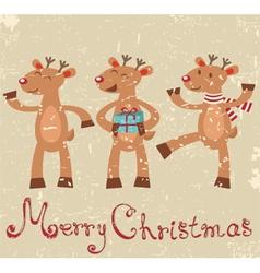 Reindeers christmas card vector