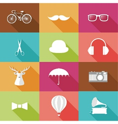 Set of hipster objects vector