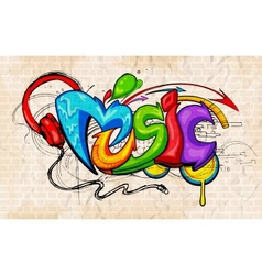 Graffiti style music background vector