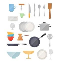 Dish flat set vector