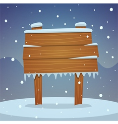 Wooden board in snow vector