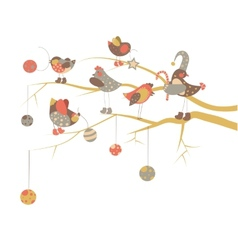 Birds celebrate christmas vector