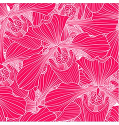 Pink and white orchid flower seamless pattern vector