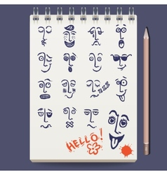 Faces characters sketch vector