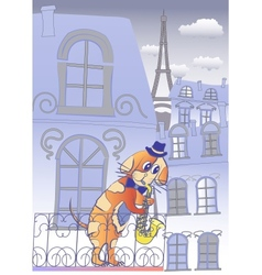 Dog musician in blue evening paris vector