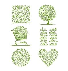Healthy food set sketch for your design vector