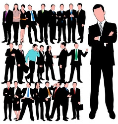 25 business people silhouettes set vector