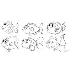 Fish sketches vector