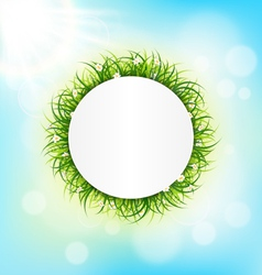 Circle frame with green grass chamomiles and vector