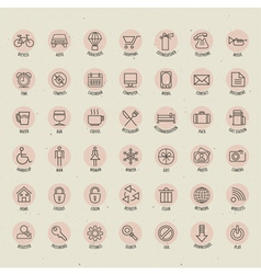 Retro vintage style icon collection vector