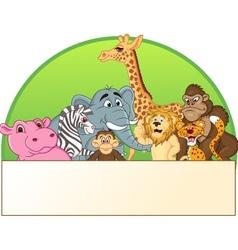 Cute animals cartoon group vector