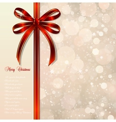 Red bow on a magical christmas background vector