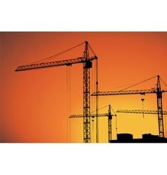 Cranes on building for construction industry vector