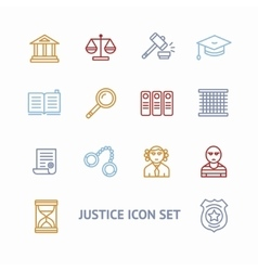 Justice law outline icon set vector