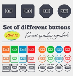 Audio cassette icon sign big set of colorful vector