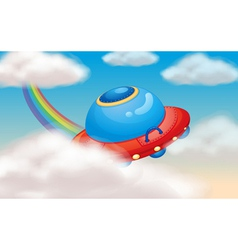 Spaceship and rainbow vector