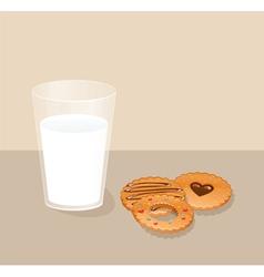 Cookies with milk vector