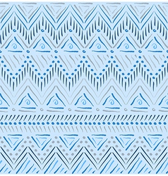 Blue tribal ethnic seamless pattern vector