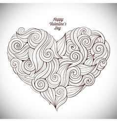 Hand drawn curled heart vector