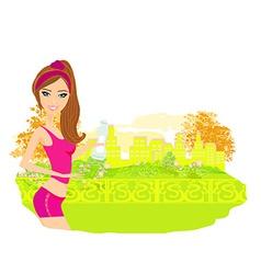 Jogging girl in summer vector