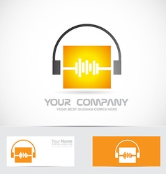 Volme audio headphones music logo vector