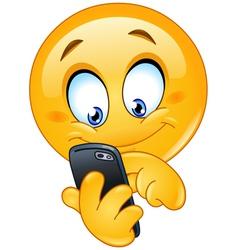 Emoticon with smart phone vector