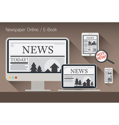 Computer news and newspaper e-book vector