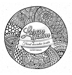 Decorative hand drawn circle frame vector