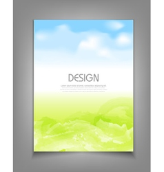 Business template with blue sky and green grass vector