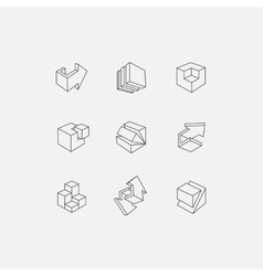 Set of 3d icons with abstract vector