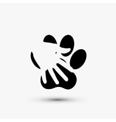 Modern paw hold hand black icon on white vector