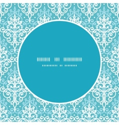 Light blue swirls damask frame seamless vector